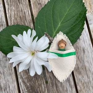 Baby Peg Doll with Acorn Cap in Colour Matching Leaf-Shaped Bag