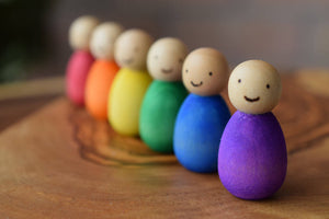 Rainbow Baby Peg Dolls with Cute Woodburned Faces