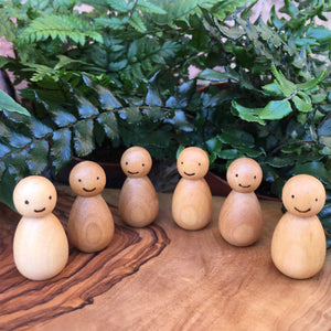 Natural Woodburned Peg Doll Babies