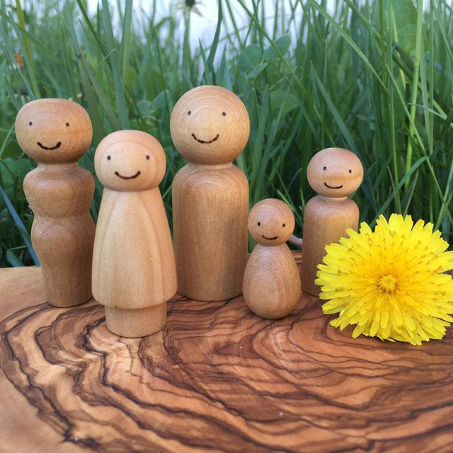 Customizable Family of Wooden Peg Dolls with Woodburned Faces
