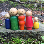 Customizable Family of Colourful Wooden Peg Dolls with Woodburned Faces