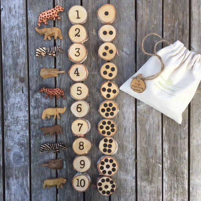 Woodburned Numbers 1 to 10 with Corresponding Dots (Subitizing Activity)