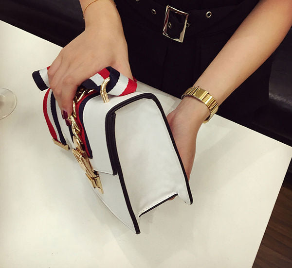 Wholesale Fashion Metal Velcro Stripe Shoulder Bag