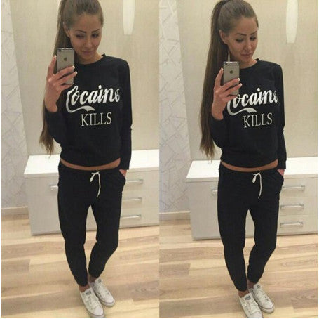 Euro Letter Print Casual Active Wear Women Suits