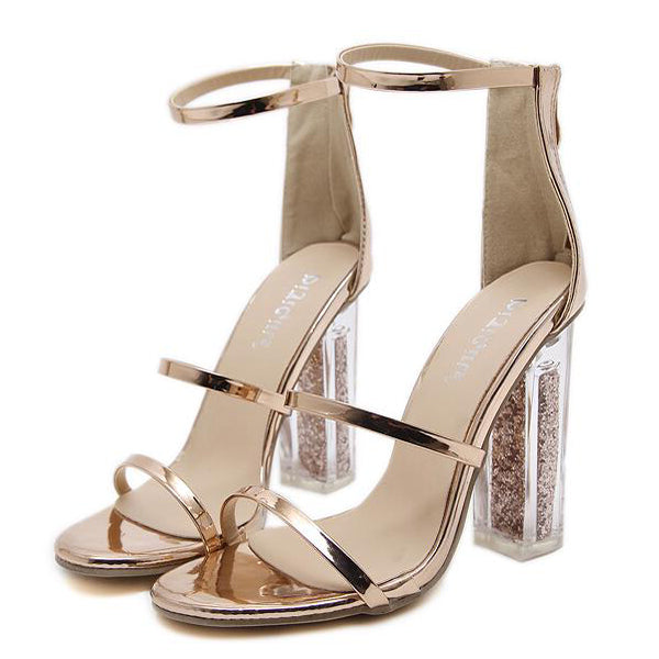 Trendy Thin Straps Transparent Chunky Sandals - My Fabulous Closet