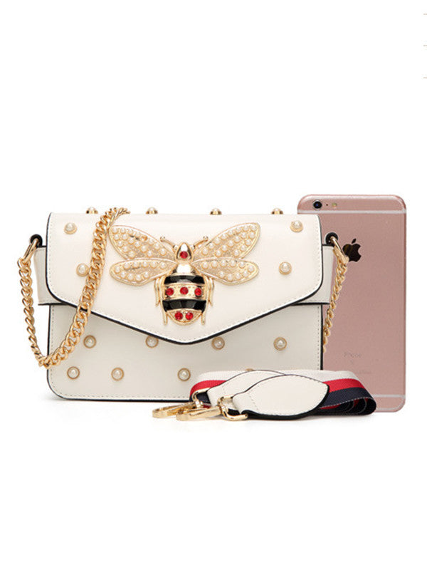 Stylish Chain Strap Pearl Beading Bee Bag
