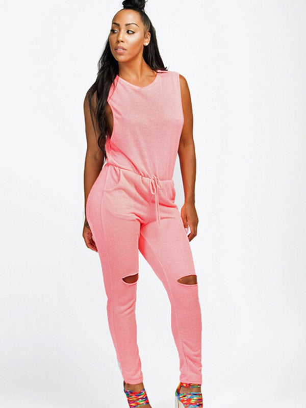 Drawstring Hollow Out Sleeveless Jumpsuits - My Fabulous Closet