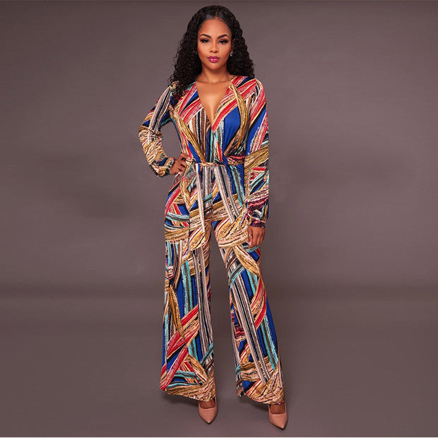 Deep V Printing Self Tie Jumpsuits Design - My Fabulous Closet