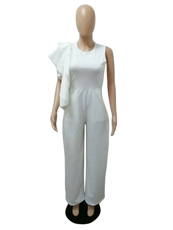 Euro Solid Ruffled Smart Waist Sleeveless White Jumpsuit - My Fabulous Closet
