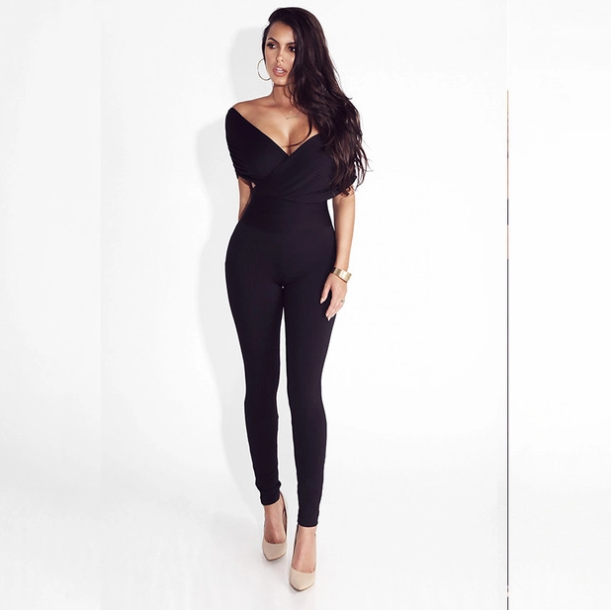 Crossover Deep V Neck Sexy Skinny Jumpsuits - My Fabulous Closet