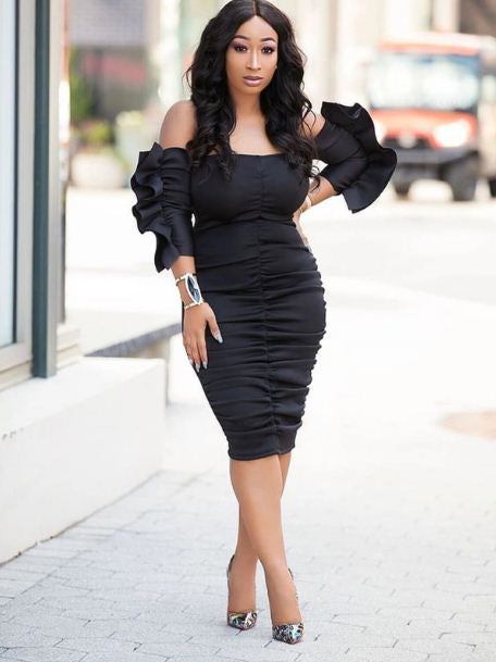 Summer Off Shoulder Solid Pleated Bodycon Dresses