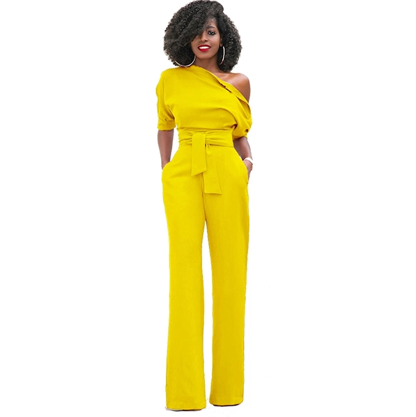Classic Inclined Shoulder Solid Drawstring Jumpsuit - My Fabulous Closet
