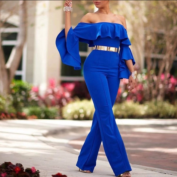 Bare Shoulder Ruffle Blue High Waist Jumpsuit - My Fabulous Closet