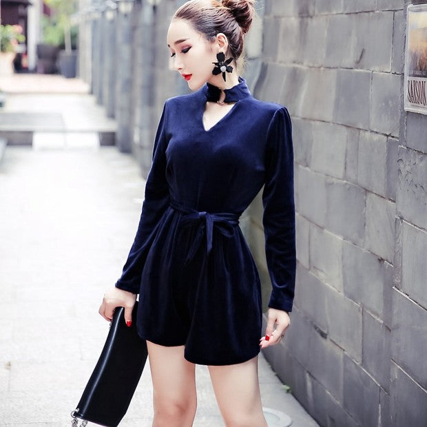 Modern V Neck Hollow Out Solid Bandage Romper