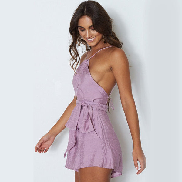 Euro Fitted Off Shoulder Strap Solid Rompers - My Fabulous Closet