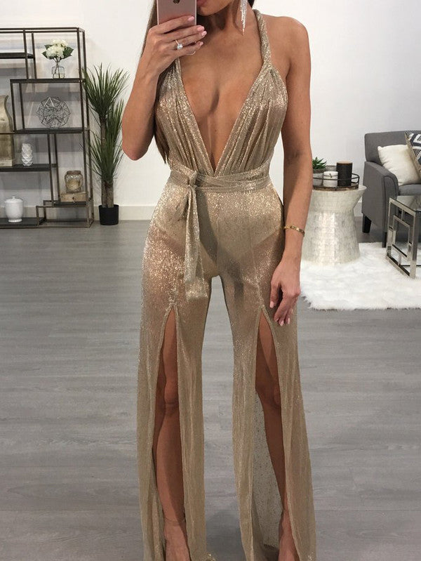 Backless Deep V High Slit Boot Cut Sexy Jumpsuit - My Fabulous Closet