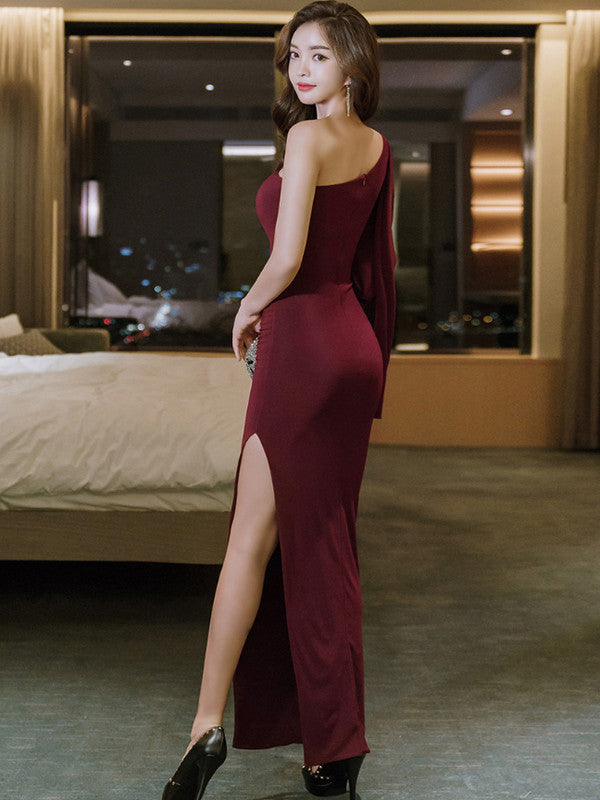 Elegant Inclined Shoulder Bow Knitting Fitted Evening Dress - My Fabulous Closet