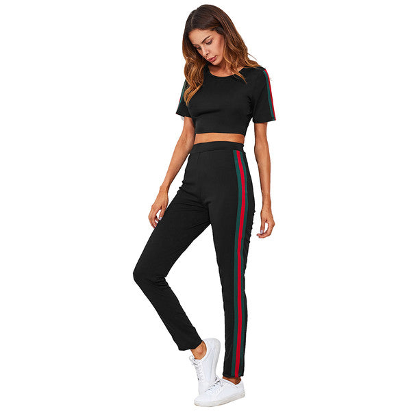 Casual Sporty Stripe Fitted Active Wear