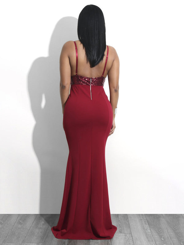 Deep V Neck Open Back Sequined Sexy Party Gown - My Fabulous Closet
