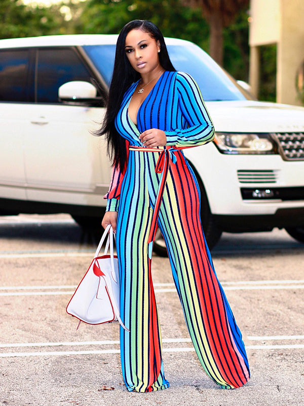 Colorful Vertical Stripes Self Tie Casual Jumpsuits - My Fabulous Closet