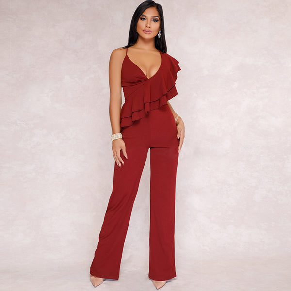 Casual Strap Flounced Fitted Slim Jumpsuit - My Fabulous Closet