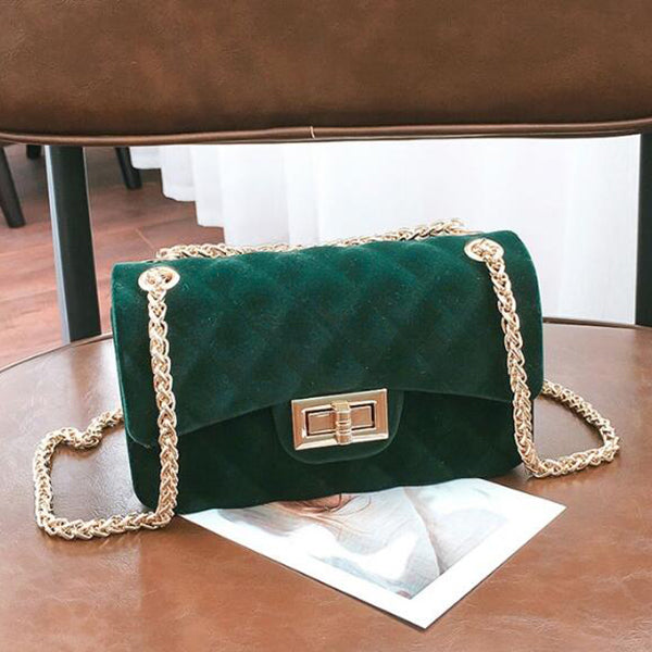 Fashion Hasp Chain Velvet Mini Shoulder Bag