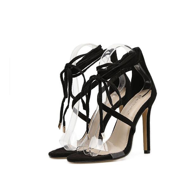 Transparent Strap Stiletto Heel Lace Up Sandals - My Fabulous Closet