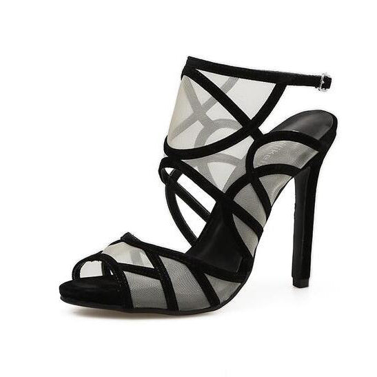 Unique Bandage Mesh Peep-toe Sexy Sandals - My Fabulous Closet