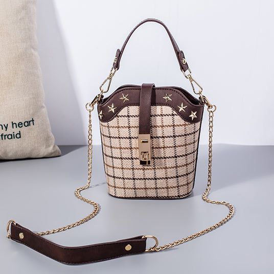 New Arrival Plaid Chains Shoulder Bag for Women