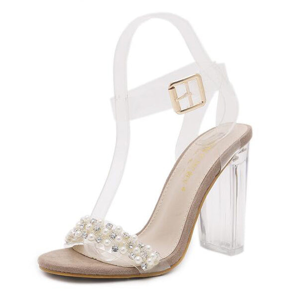 Apricot Pearls Fashion Crystal Sandals - My Fabulous Closet