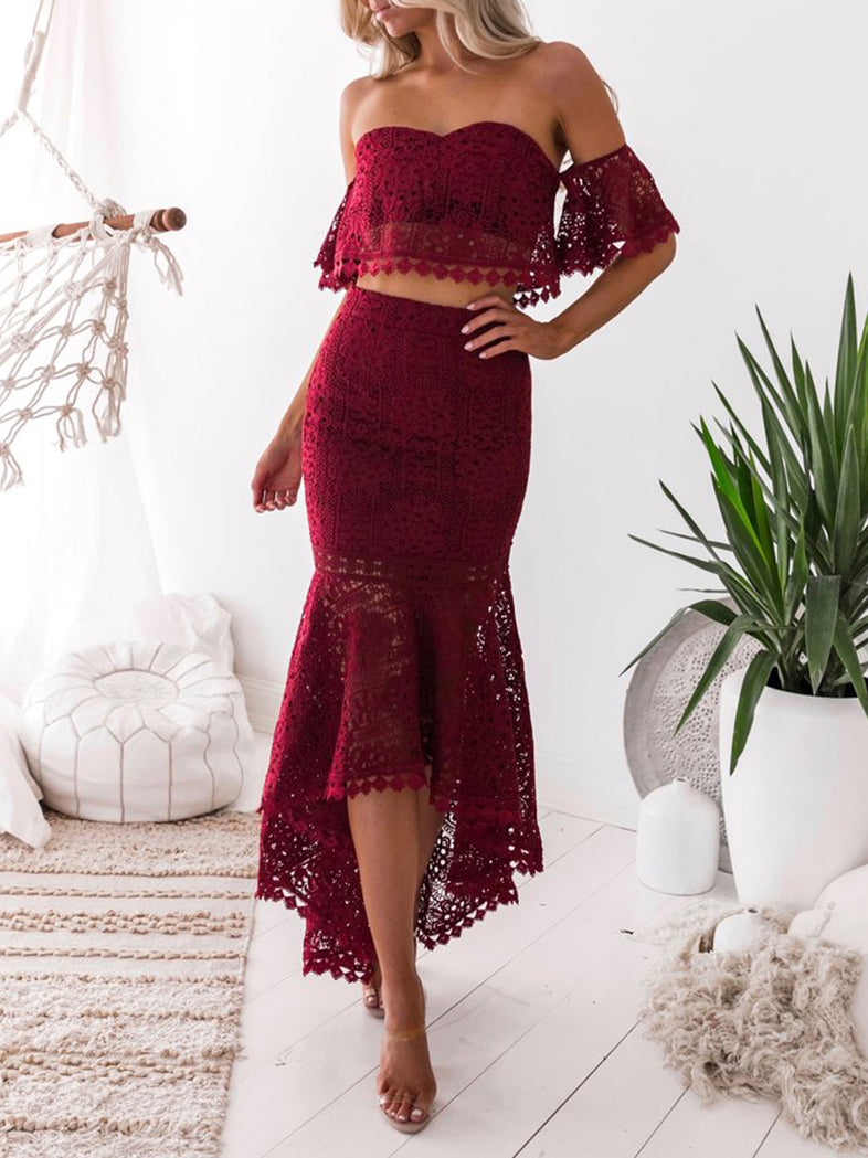 Modern Lady Lace Ruffles Tops With Asymmetric Mermaid Skirt