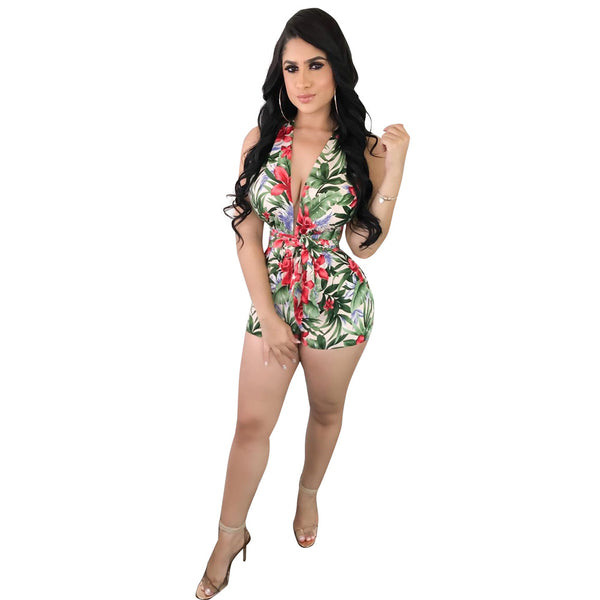 Tropical Style Floral Printing Backless Rompers