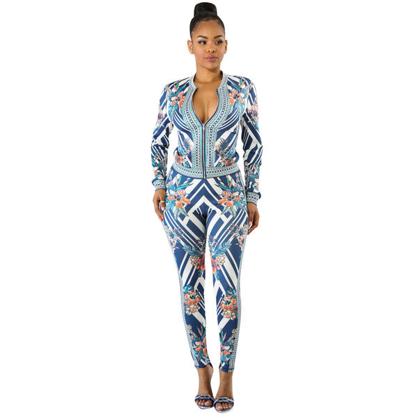 Fashion Zipper Up Floral Women Suit - My Fabulous Closet