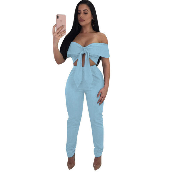 Euro Sexy Off Shoulder Solid Women Suit - My Fabulous Closet