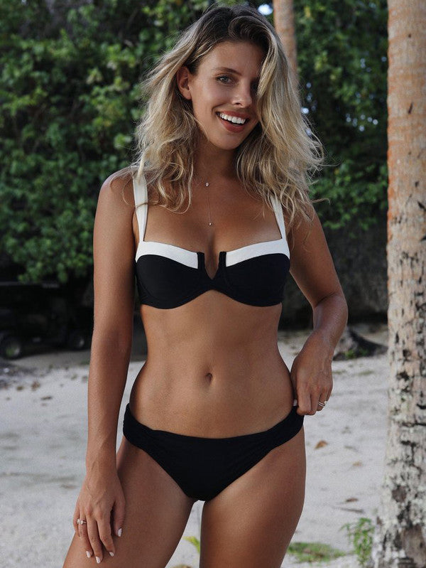 Euro Style Color Black Pleated Triangle Bikinis - My Fabulous Closet