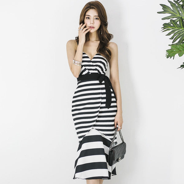 Hot Selling Flounce Sexy Striped Striped Long Dresses