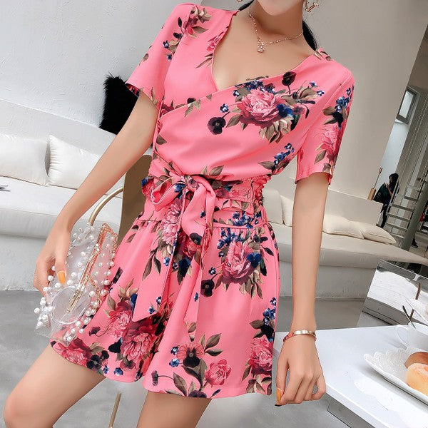 V-neck Short Sleeve Floral Bandage Woman Suit