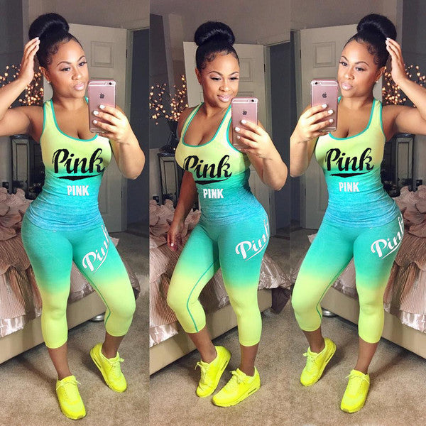 Sporty Gradient Color Letter Printing Women Suits