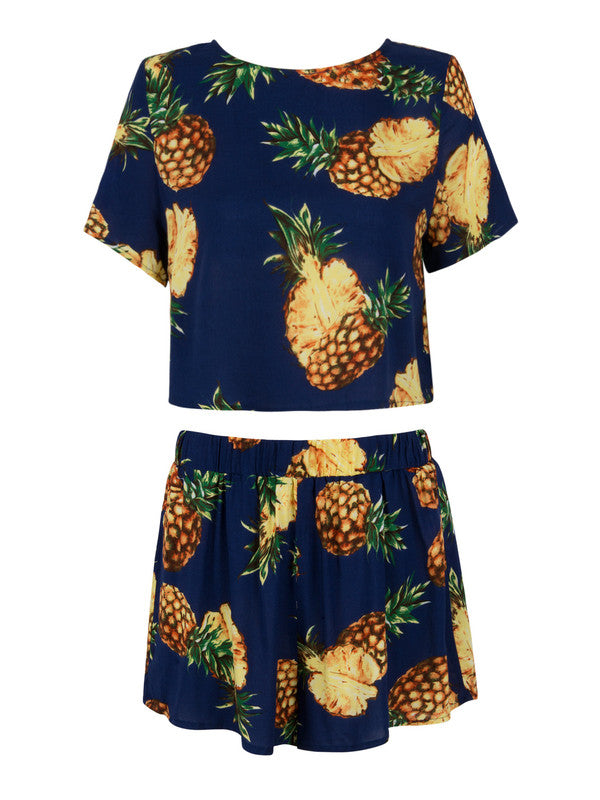 Crew Neck Short Sleeve Printed Woman Suit - My Fabulous Closet