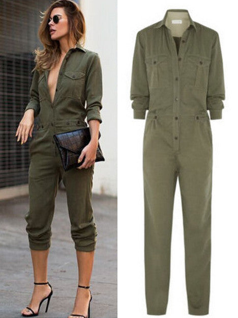 Army Green Button Closed Casual Jumpsuit - My Fabulous Closet