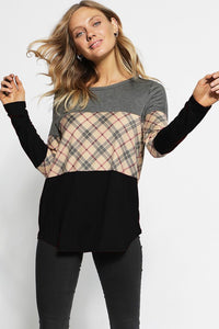 Plaid Color Block Long Sleeve Tee