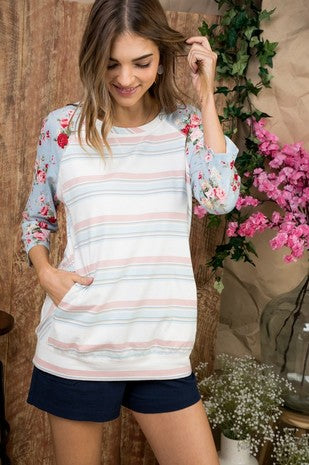 Floral Sleeve Pocket Top