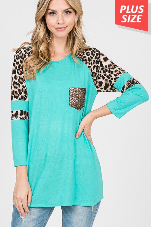 Plus Size Leopard Sequin Pocket Turquoise Top