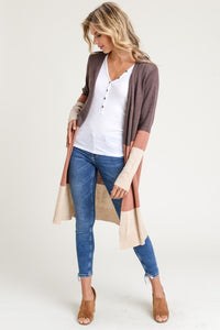 Brown, Dusty Pink, Cream Cardigan