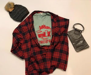 Black and Red Plaid Women's