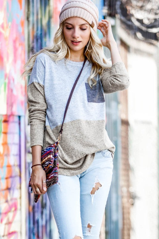 Color Block Top With Pocket