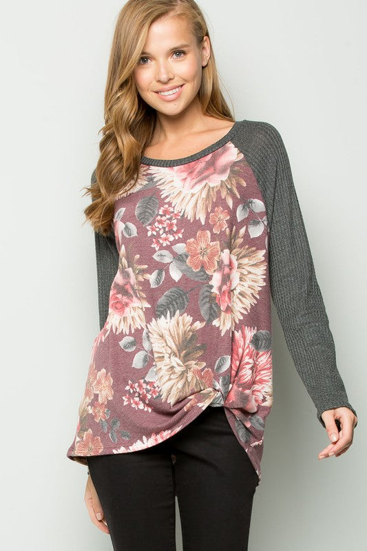 Floral Long Sleeve Burgundy