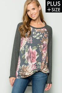 Plus Size Floral Charcoal Top