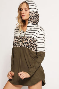 Leopard and Olive Stripe Hoodie