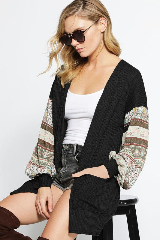 Thermal Waffle Knit Cardigan